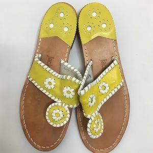 Yellow White Leather Slides Sandals 6 m